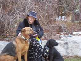 Eileen with Old Man Odie & Delta Dog